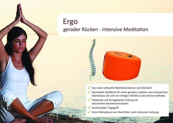 Ergonomisches Meditations- und Yogakissen von KlarGeist Füllung Ergonomie